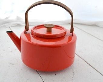 1960s Copco Michael Lax Red Enamel Tea Kettle