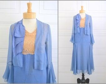 1920s Blue Chiffon and Lace Flapper Dress and Jacket