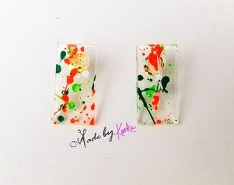 Splat Painted Mini Str8 Earrings
