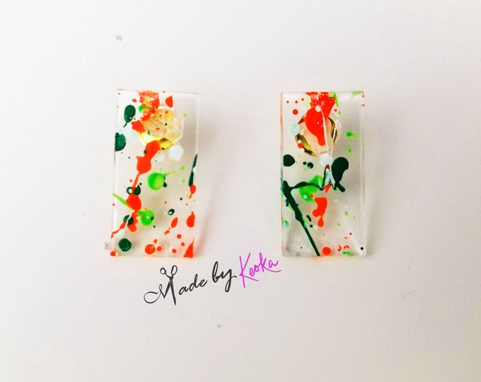 Splat Painted Mini Str8 Earrings