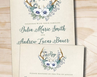 Rustic Floral Antlers Wedding Invitation and Response Card Invitation Suite