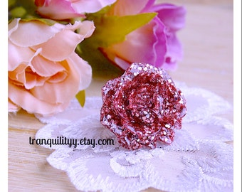 Open Rose Ring ,Dusty Rose Glitter Open Rose Resin Adjustable Ring, Birthday Gift, Handmade By: Tranquilityy
