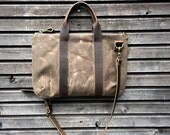 Waxed canvas Briefcase -  Messenger bag  COLLECTION UNISEX