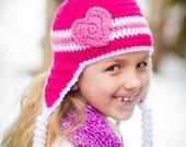 Valentine hat, heart hat, crochet valentine hat, girls crochet hat, preemie hat, newborn valentine hat, newborn photo prop