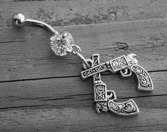 Gun Belly Button Ring Diamond Belly Ring Navel Piercing Silver Body Jewelry Western Pistol Southern Country Girl Cowgirl Rock n Roll Rocker