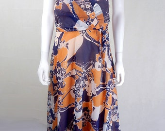 Original 1970s Floral Psychedelic Dress UK Size 10/12
