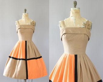 Vintage 50s Dress/ 1950s Cotton Dress/ Sue Leslie Cotton Piqué Sundress w/ Color Blocking M