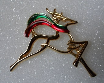 Reindeer Pin! Signed Danecraft! Pretty Red & Green Enamel Scarves! Beautiful Gold Plated Christmas Pin For Her! Free Shipping! On Sale Now!