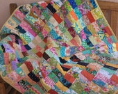 Boho Scrappy Coin Quilt Random Patchwork Lap Throw, Toddler Throw Ready to Ship