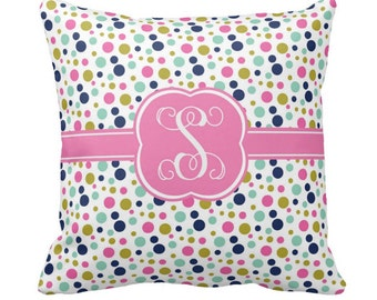 Monogram Pillow, Polka Dots Decorative Throw Pillow, dorm decor, new baby gift, dorm pillow, personalized gift, new couple gift