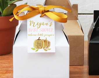 12 - Personalized Mini Gable Boxes - Little Pumpkin Tag - Little Pumpkin 1st Birthday Party Favors, Little Pumpkin Birthday