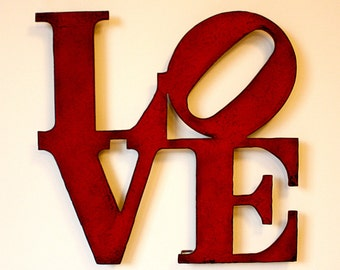 "Love wall art metal sign - 15"" tall - Choose your color with rust accents patina - love sign art - choose your color"
