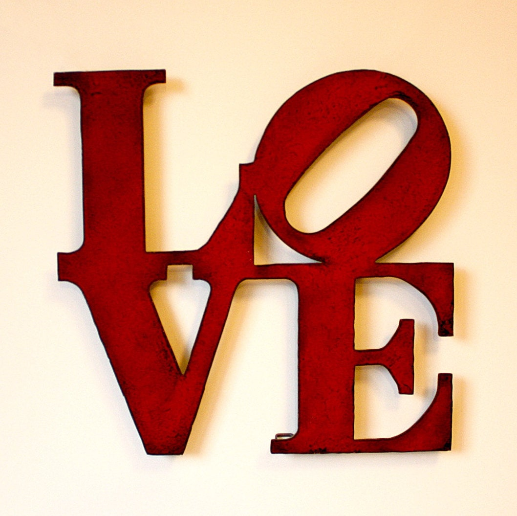 Love wall art metal sign 30 tall red with rust for Love sign