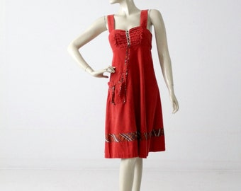 Red ruffle apron dress