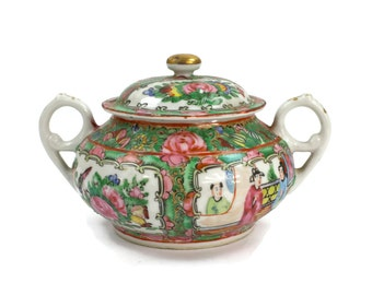 Rose Medallion Sugar Bowl - Antique Sugar Bowl, Chinese Sugar Bowl, Hand Painted Sugar Bowl, Made in China, c.1920s