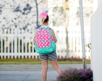 Monogram Whales School Backpack Bookbag - Girls
