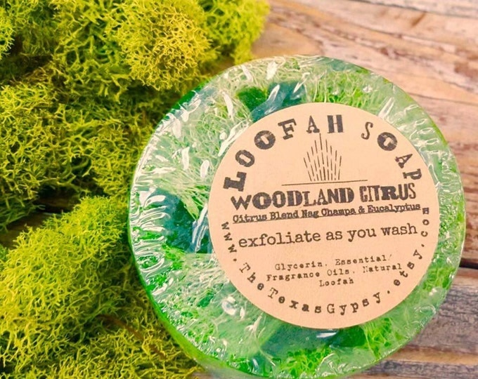 Featured listing image: Woodland Citrus (Citrus Blend, Nag Champa, Eucalyptus) Natural Loofah Exfoliating Glycerin Soap