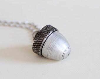 Locket Necklace, Acorn Locket,Acorn Locket,Silver Acorn Pendant Cremation Necklace, Canister Necklace, Ashes Mourning Locket,Wedding