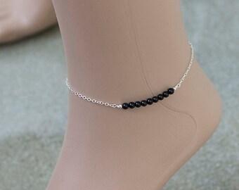 Black Spinel Silver Bar Ankle Bracelet,Spinel Bar,Stone Ankle,Silver Ankle,Line Bracelet,Bar Ankle Bracelet,Dainty Ankle Bracelet,Gifts