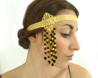 Gold Tassel Flapper Headband Women Fringe Black Bohemian Indie Hair Accessories Gift for Her 1920s Gypsy Hippie Folk Woodland Bridesmaid