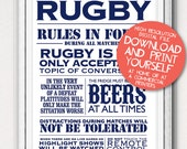 Printable Rugby House Rules Typographic Sports Poster Art Gift