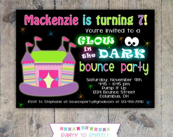GLOW BOUNCE HOUSE Party Birthday Invitation Printable