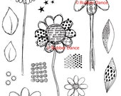 Sheet of stamps, Unmounted red rubber stamps by Rubber Dance. Textured Flowers