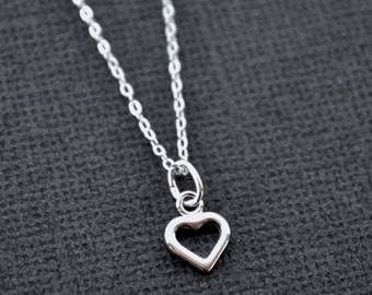 Tiny Sterling Silver Heart . Layering Necklace
