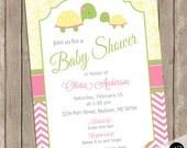 Turtle baby shower invitation, girl turtle invitation, baby girl shower invitation, turtles, tortoise, pink, yellow green, chevron, damask