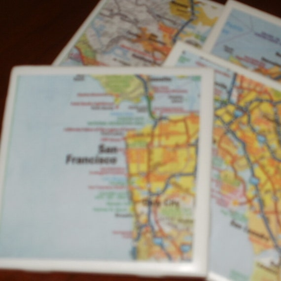 San Fran Bay Area Road Map Coasters...Set of 4...For Drinks or Candles...Full Cork Bottoms NOT Felt