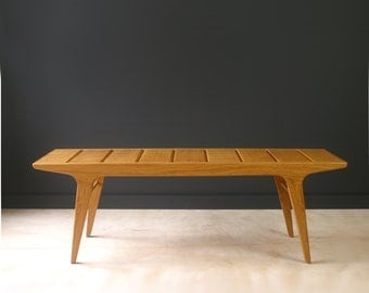 Modern slat bench in white oak