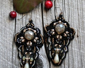 Tatted Lace Black Beaded Chandelier Fiber Large Earrings