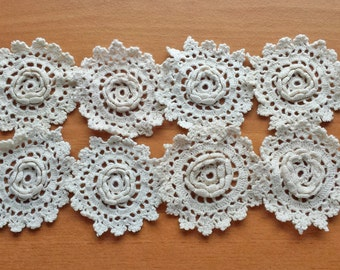 Shabby Flower Rosette Crochet Doilies, Dimensional Flower Doilies, Small Craft Doilies in White or Beige