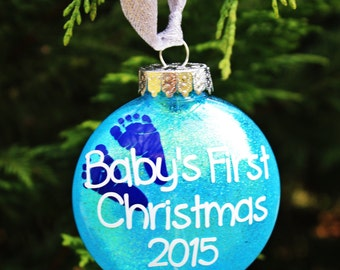 First Christmas Ornament, Baby's First Christmas Ornament, Baby's 1st Glitter Ornament, Christmas Ornament, Christmas Gift, Baby Gift