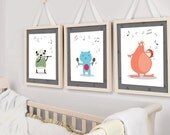 Music Nursery artworks  | animal theme | 3 prints | baby's room | shower decoration | Gender Neutral