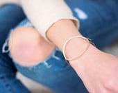 Circle Bracelet, Large Open Circle Bracelet, Gold Circle Bracelet , Hand forged Circle Bangle