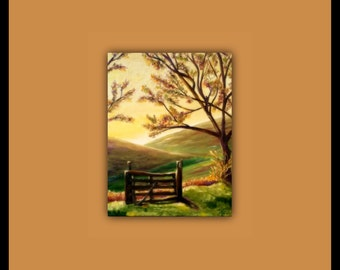 """Oil Painting, Day has Dawned - 11""""X14""""X1.5"""" Oil painting - (tree, flieds, hills, fence, landscape, sunrise, morning) signed by DanaC"""