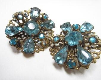 Vintage Blue Rhinestone Earrings Czecho Czechoslovakia