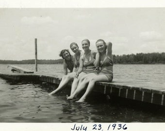 "Vintage Photo ""Four Lovely Swimmers"" Bathing Suit Snapshot Antique Photo Old Black & White Photograph Found Paper Ephemera Vernacular - 116"