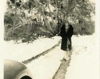 "Vintage Photo ""Snowy Lane"" Snapshot Photo Old Antique Photo Black & White Photograph Found Photo Paper Ephemera Vernacular - 198"