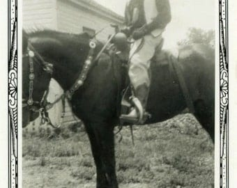 "Vintage Photo ""Fancy Cowboy"" Man Riding Horse Farm Snapshot Old Antique Photo Black & White Photograph Found Paper Ephemera Vernacular - 147"
