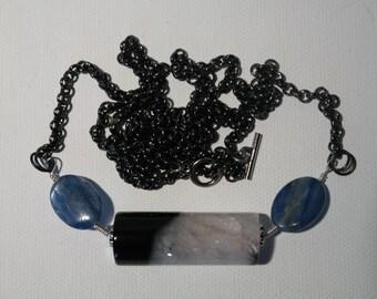 Blue Kyanite and Solomons Onyx Barrel Agate Crystal Pendant Long Gunmetal Chain Necklace