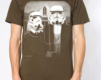 Star Wars American Gothic parody on mens t shirt- american apparel army green, available in S,M, L ,XL, 2XL,  worldwide shipping