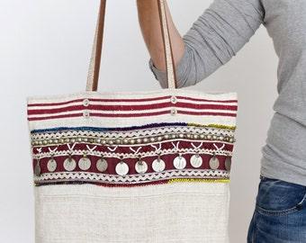 boho kuchi feedsack shoulder bag - kuchi banjara ethnic coins tote bag - boho antique tote bag - repurposed shoulder bag - leather details