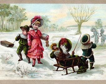 Christmas Card - Victorian Kids Sled Riding - Children Sledding