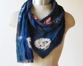 indigo shibori dyed scarf, cotton scarves