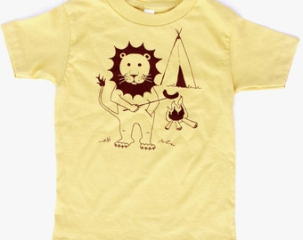 Campfire Lion Screen printed kids shirt original artwork American Apparel Shirts