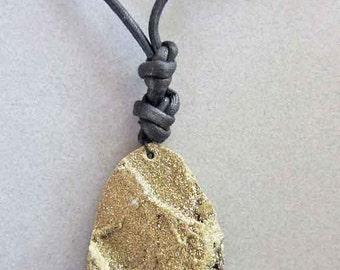 Raw Stone, Gold Druzy Necklace, Gold Druzy Jewelry, Crystal Necklace, Gold Crystal Necklace, Titanium Druzy, Gold Necklace, Rough Stone