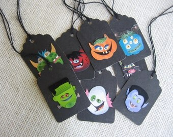 Halloween Gift Tags, Set of 8, Monster Gift Tags, Black Gift Tags, Gift Bag Tags, Treat Sack Tags, Halloween Tags