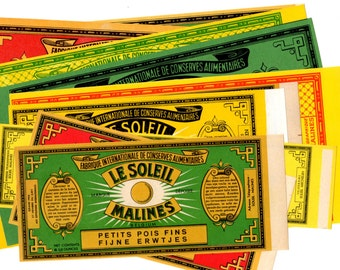 12 Vintage 1930s Belgium Can Labels - Mixed Media, Collage, Assemblage, Art Journal, Scrapbooking Supplies - French Dutch Labels